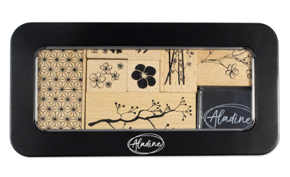 Wood stamps box - Flowers