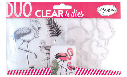 Duo clear & dies - flamant rose