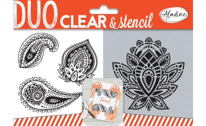 Duo clear & stencil - paisley