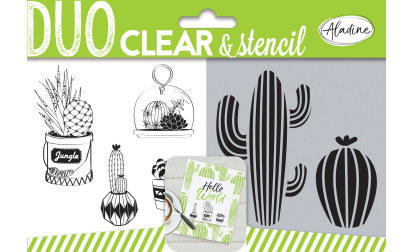 Duo clear & stencil - cactus