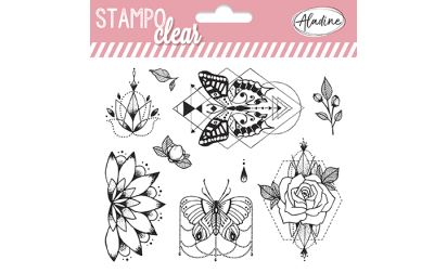 Stampo clear - Tampons transparents - Pivoine / papillons